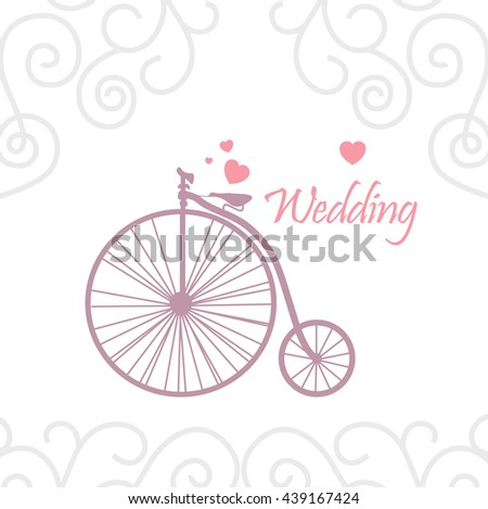 Vector decorative design template. An elegant element for logo design, place for text, line art floral frame. Lace illustration for invitation, greeting cards. A vintage Bicycle. hearts. - stock vector