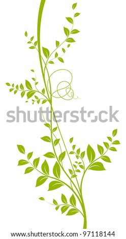 vector decorative element. Green liana with leaves over a white background - stock vector