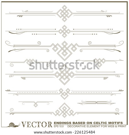 Vector decorative elements for the design of diploma, advertisements, envelope, wedding  and other invitations or greeting cards based on Celtic patterns - stock vector
