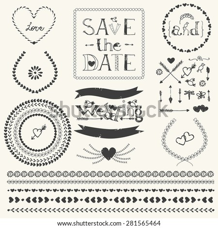 Vector decorative elements. Wedding graphic set. Laurel wreath, ribbon, stripe ornament, round frames, arrows, hearts. Lettering save the date. Pattern brushes for illustrator. - stock vector