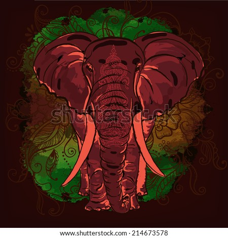 Vector Decorative Elephant on the Watercolor Blot - stock vector