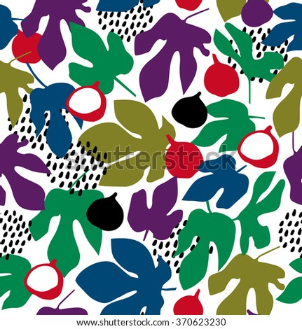 Vector decorative floral pattern, seamless background with fruits and leaves, summer texture - stock vector