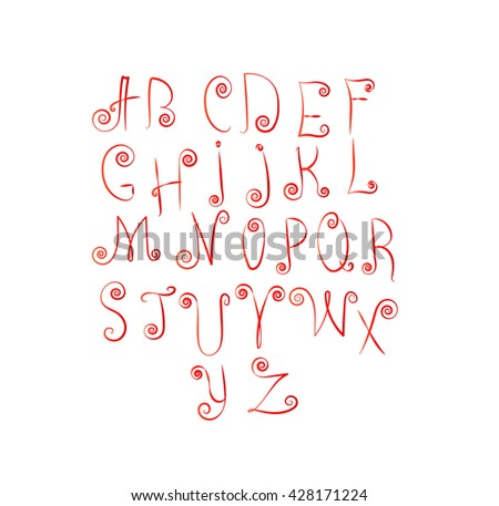 Vector decorative font. Latin alphabet of red letters.