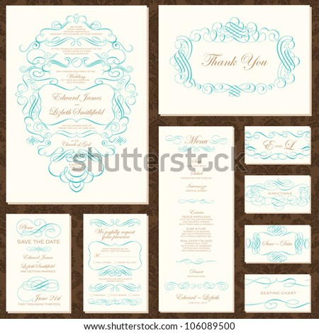 Vector Decorative Frame and Ornament Set. Easy to edit. Perfect for invitations or announcements. Seamless pattern included. - stock vector