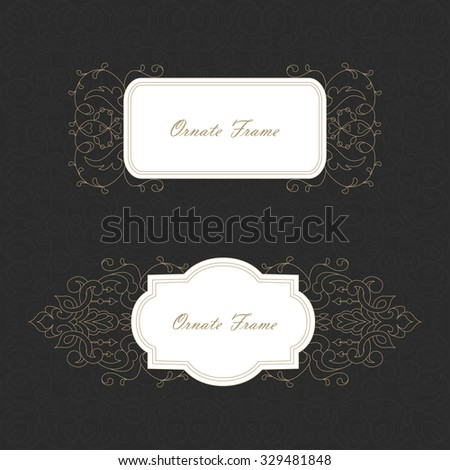 Vector decorative frame. Elegant element for design template, place for text.Floral border. Lace decor for birthday and greeting card, wedding invitation. Line art decor.