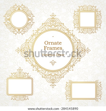 Vector decorative frame in Victorian style. Elegant element for design template. Outline floral border. Line art golden decor for birthday and greeting card, wedding invitation, Thank you message. - stock vector