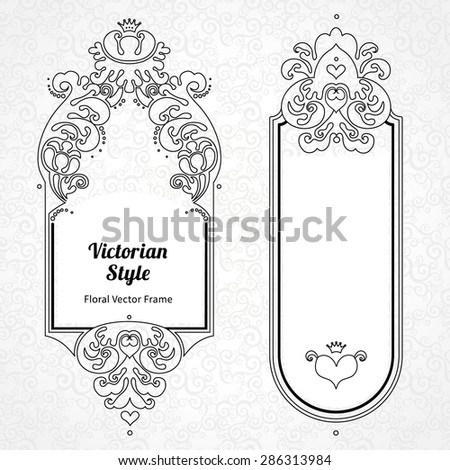 Vector decorative frame in Victorian style. Elegant element for design template. Outline floral border. Line art decor for birthday and greeting card, wedding invitation, Thank you message. - stock vector