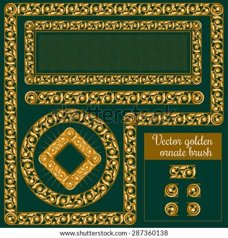 Vector decorative golden ornate design elements and brush for illustrator - stock vector