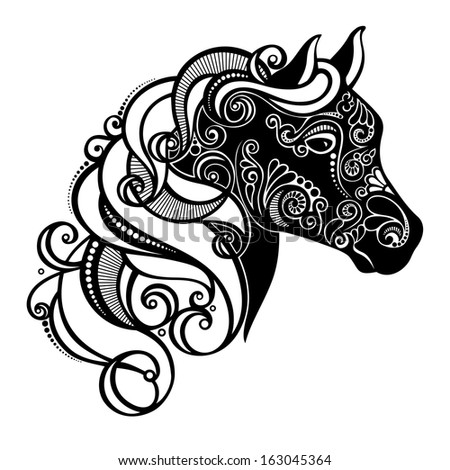 Pattern Shape Horse Head Stock Vector 54843712