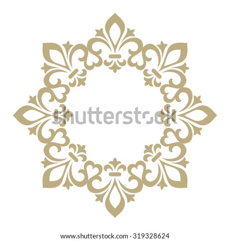 Vector decorative line art frame. Elegant element for design in Eastern style, place for text. Golden royal lily. Lace illustration for invitations and greeting cards - stock vector