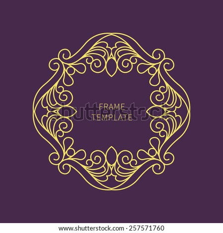 Vector decorative line art frame for design template. Elegant element for logo design, badges, emblem. Place for text. Light outline border. Lace illustration for invitations and greeting cards. - stock vector