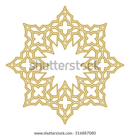 Vector decorative line art frames for design template. Elegant element for design in Eastern style, place for text. Golden outline floral border. Lace illustration for invitations and greeting cards. - stock vector