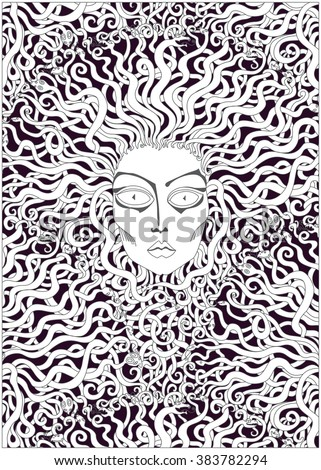 Vector decorative Medusa face, stylized fan shaped hair from serpent. Black, white. Cartoon snake character. Art deco style batik painting. Tattoo contour drawing. Adults coloring book vertical page - stock vector