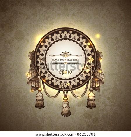 Vector decorative ornamental background with vintage vignette. - stock vector
