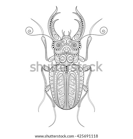 Vector Decorative Ornate Beetly, Lucanus Cervus. Monochrome Illustration of Exotic Insect. Patterned Design Element - stock vector