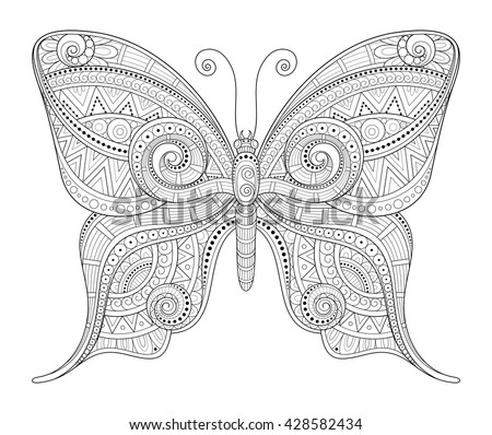 Vector Decorative Ornate Butterfly. Monochrome Illustration of Exotic Insect. Patterned Design Element - stock vector