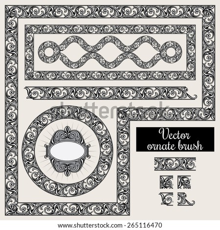 Vector decorative ornate design elements and brush for illustrator - stock vector