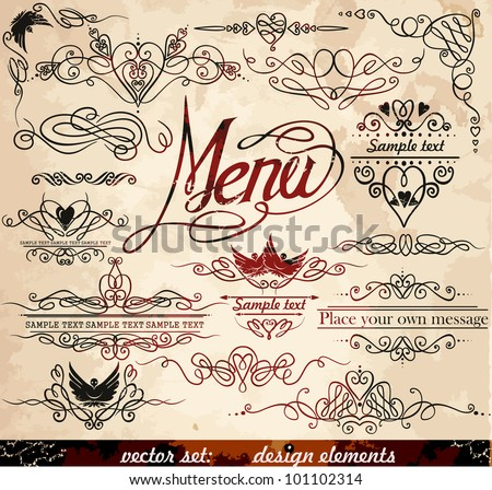 Vector decorative ornate design elements & calligraphic page decorations.   Eps 10. - stock vector
