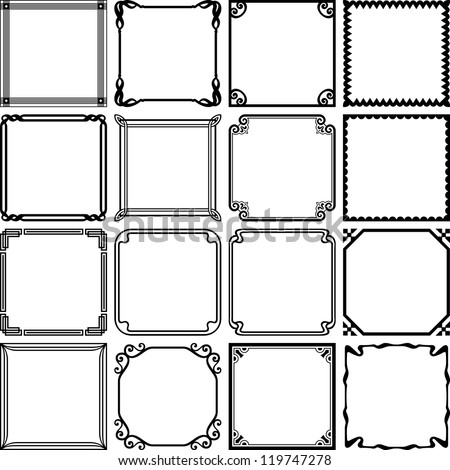 Vector decorative simple frames - stock vector