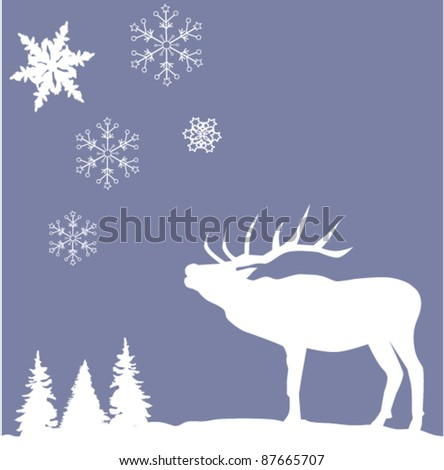 vector deer with snowflakes