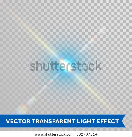 Vector defocused shining ray of light. Twinkling sunlight spark. Bright glaring light flash with lens flare optical effect isolated on transparent background - stock vector
