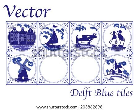 Vector Delft Blue Dutch tiles with folk pictures - stock vector