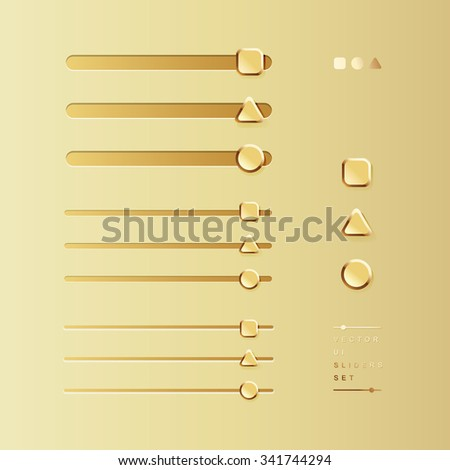 vector delicate gold UI elements, sliders, volume controls / for websites, blogs or applications / square + triangle + circle / on gold background - stock vector