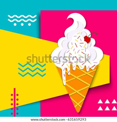 Vector Delicious Ice Cream Bright Colors Stock Vector 631659293