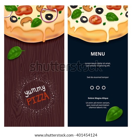 Vector Delicious Pizza on Wooden Table Top View. Tasty Fast Food Snack on Background. Pizza Illustration for Banners, Flyers and Menu. - stock vector