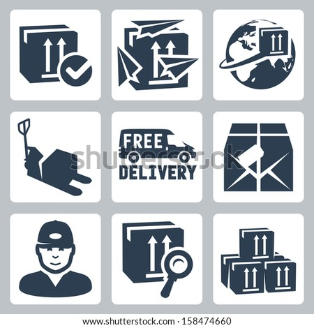 Vector delivery icons set: box, paperplanes, globe, pallet jack, van, parcel, courier, tracking, warehouse - stock vector