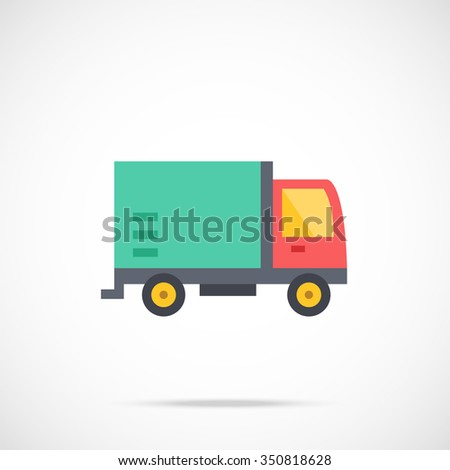 Vector delivery truck icon, delivery service icon. Flat delivery truck icon. Flat design vector illustration concept. Delivery truck icon graphic. Vector icon isolated on gradient background - stock vector
