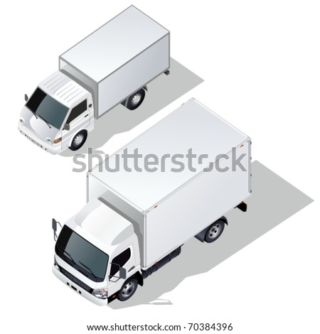 Vector delivery truck isometric set - stock vector