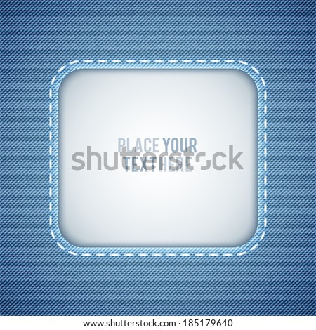 vector denim background with frame and seam - stock vector