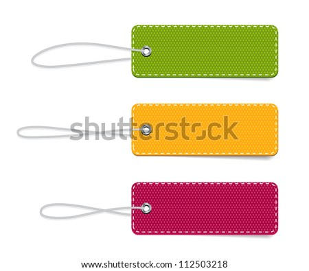 Vector denim fabric rectangular colorful badges set with straps - stock vector