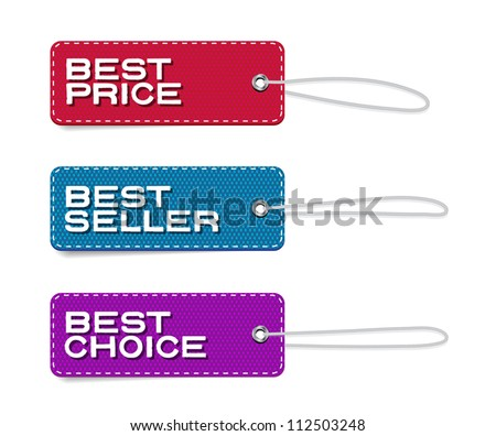 Vector denim fabric rectangular colorful  badges set with straps, best price, bestseller, best choice - stock vector