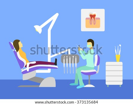 Vector dentist office. Dental chair, dentist tools, doctor, patient. - stock vector