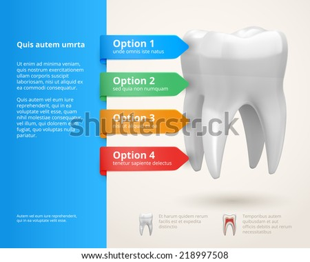 Vector dentistry infographics elements with ribbons and options - stock vector