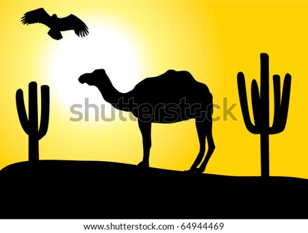 vector desert with camel and eagle - stock vector
