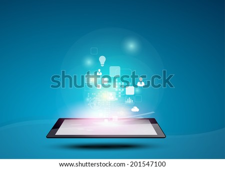 Vector design applicarion icon and Information on Tablet computer, Infographic of technology and communication  - stock vector