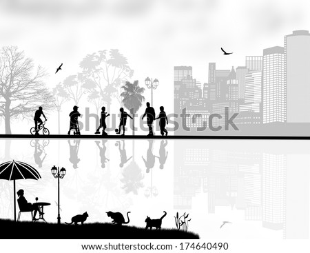 Vector design background with beautiful landscape and people silhouette with reflection on water - stock vector