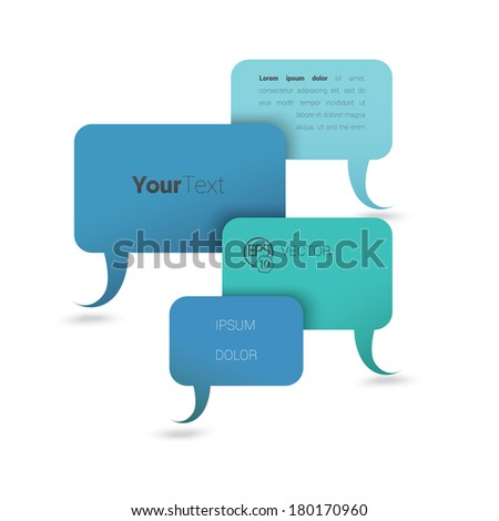 Vector design. Blue business edition of a minimal scalable abstract geometric bubble speech shape textbox with 3d shadow. Layout element for web, brochure, presentation or infographics. - stock vector