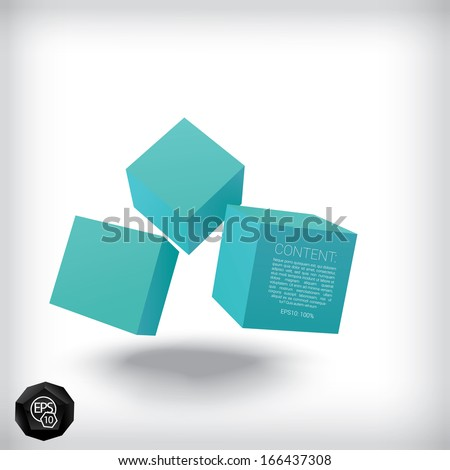 Vector design. Blue edition of a 3d abstract geometric scalable eps10 composition of  flying textbox cubes in a clean white space for infographics, webdesign or for brochure print illustration element - stock vector