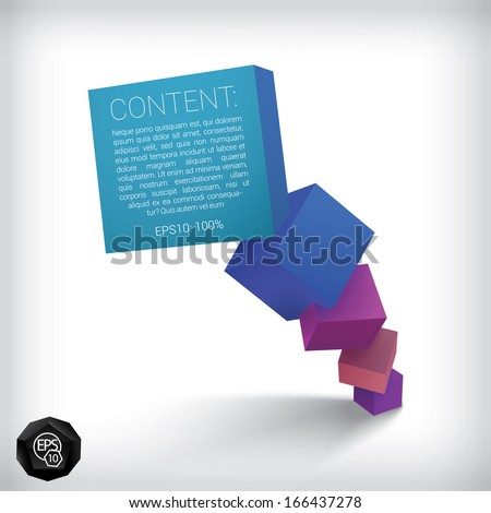Vector design. Blue purple edition of a 3d abstract geometric scalable eps10 vertical composition of cubes in a clean white space for infographics, webdesign or for brochure print graphic element - stock vector