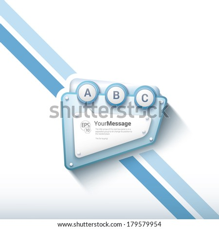 Vector design. Blue science edition of minimal scalable abstract contemporary robot frame text box with an artistic stripes background. Layout element: web, brochure, presentation or infographics. - stock vector