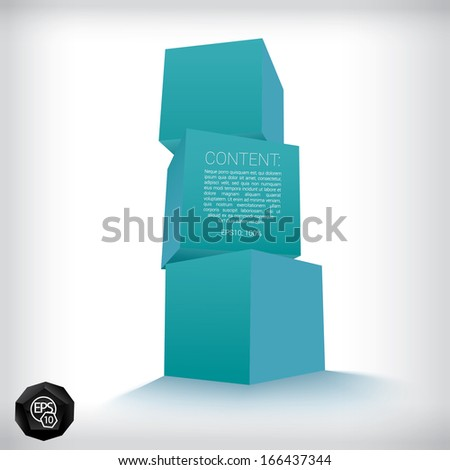 Vector design. Blue - stable edition of a cool abstract geometric scalable 3d composition concept of three cubes for navigation, display, website or infographics, and brochure eps10 illustration  - stock vector