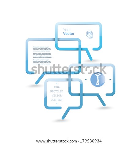 Vector design. Blue & white business edition of a minimal scalable abstract geometric bubble speech textbox with an artistic background. Layout element for web, brochure, presentation or infographics - stock vector