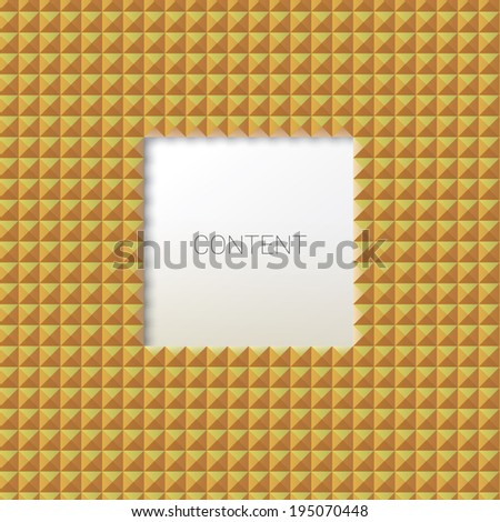 Vector design.Centered of a cool abstract geometric scalable 3d composition concept of placeholder element with a minimalist mosaic tile yellow background   - stock vector