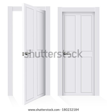 Vector design. Close and open door on white background.  - stock vector
