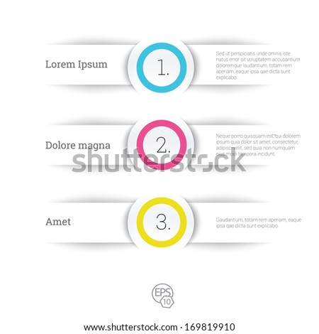 Vector design, cmyk edition of adjustable eps10 composition an abstract minimal geometric paper background based list elements with menu field for numbering for web, print, brochure or infographics  - stock vector