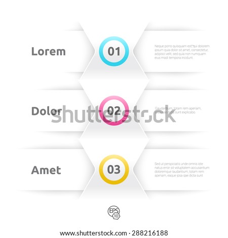 Vector Design, CMYK Version of  an Eps10 Composition of Abstract Minimal Geometric Paper Background Based List Elements With Text Field for Numbering for Web, Print, Brochure or Infographics - stock vector
